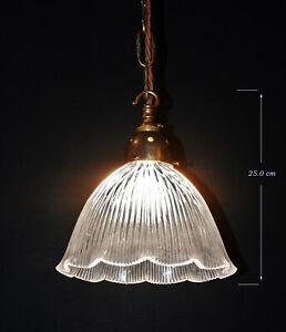 Superb original 1930s patented holophane prismatic ribbed glass pendant light
