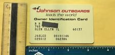 Vintage Johnson Outboards Owner Id Card Unknown Year *Plastic credit card size*