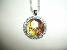 JESUS LAST SUPPER RELIGIOUS CHRISTIAN CATHOLIC PENDANT GLASS CAMEO W/RHINESTONES