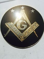 "Masonic prince Hall black and gold metal auto car truck 3"" Emblem"