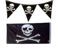 "Pirates 12ft Bunting Flag & Large 5 x 3"" Skull & Crossbones Jolly Roger Flag Set"