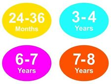Coloured Baby & Childrens Clothes Size Stickers - Sticky Labels - 7 - 8 Years