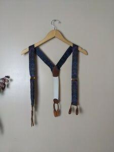 Vintage Dooney & Bourke blue Striped Stretch Leather Tab Suspenders Brace
