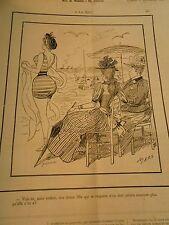 Caricature 1892  - A la Mer Une jeune fille n'en doit monter plus qu'elle en a