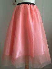 Salmon Pink Sheer Net Overlay TUTU FLARED A LINE Skater Skirt UK SMALL 8-10