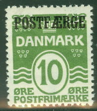 DENMARK #Q1 (Pf16) 10ore green, og, NH, VF, Scott $49.00