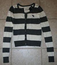 NWT Abercrombie Girls XL Grey White Striped Cardigan Button Sweater
