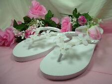 Wedding Shoes FLIP FLOPS Stephanotis Flower White