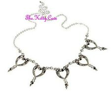 Deco Vintage Glamour Silver Bling Hearts Feature Necklace w/ Swarovski Crystals