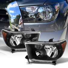 Black 2007-2013 Toyota Tundra 2008-2017 Sequoia Headlights Headlamps Left+Right