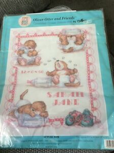 Girl Birth Sampler Of Oliver Otter And Friends Counted Cross Stitch Kit By DMC