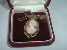 VINTAGE 12K GOLD FILLED VICTORIAN PHOTO LOCKET SHELL CAMEO PENDANT IN GIFT BOX