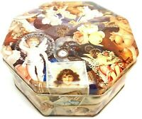 Vintage Victorian Angels & Roses Collectible Tin Octagon Decorative Container