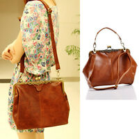 New brown Retro leather shoulder handbag Satchel Tote bag Lady
