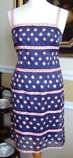 NANETTE LAPORE Navy Silk Organza Spaghetti Strap Sheath Dress Lined Size 4P