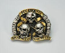 * SEE NO EVIL Speak Hear Gürtelschnalle Totenkopf Skull Belt Buckle Tattoo *181