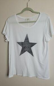 Womens Hush Star T-shirt Top white Grey Size M medium V neck loose cotton blend