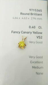 14k ~ .40 Ct Fancy Canary Yellow VS2 DIAMOND ROUND PENDANT