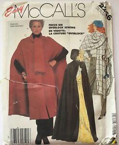 McCalls 2266 Cape Full Coat Hooded Scarf Retro Loose Ladies New Uncut Pattern