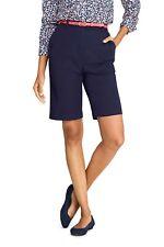 "Lands End Women's Bermuda 10"" Shorts Elastic High Waist Size 4 True Navy NWT!"