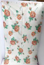 """Vintage Cotton Feedsack Fabric- Large Brownish Orange Roses 37"""" x 44"""""""