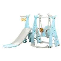 3 IN 1 Fun Swing Set Kids Playground Slide Outdoor Backyard Space Saver Play