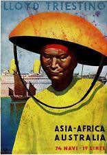 REPRO AFFICHE  LLOYD TRIESTINO ASIA AFRICA AUSTRALIA BATEAU 1930BFK RIVES 310GRS