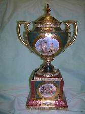 Antique Austrian Porcelain double handled Mantel Urn { Circa 1890-1918}