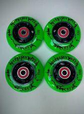 4 76mm Koncrete Inline Skate Wheels w Bearings-outdoor hockey rollerblade fitnes