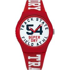 Genuine Superdry Watch 'Urban XL' Track & Field Red Silicone Strap & White Dial