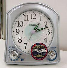 """Rhythm Alarm Clock""""Silver Robin"""" W/ Beeps, Chirps &Different Melodies 8Rma02Wr04"""