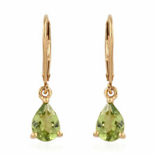 TJC Dangle Earrings in 14ct Gold Plated Sterling Silver for Women With Peridot