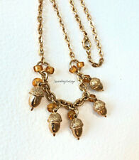 Acorn Dangles Necklace Gold Tone Charms & Chain w/ Golden Glass Bead Accents