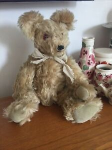 Lovely Vintage Hand Made Jointed Mohair Teddy Bear Suede Pads