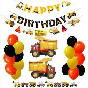 HAPPY BIRTHDAY Banner Truck Ballon Construction Truck Theme Birthday Party Decor