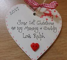 Baby's first 1st christmas personalised tree decoration for parents