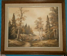 "Original Oil on Canvas Painting Forest, Lake, Autumn, 21""x25"", Signed and Framed"