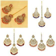 Indian Bollywood Style Kundan Designs Earrings Pair with Maang Tikka Set