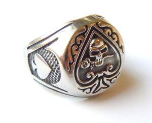 Ace of Spades Skull Ring - Stainless Steel Metal Gothic Biker Unisex Jewellery