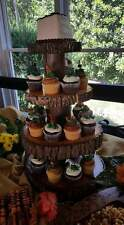 Rustic Wedding 4 Tier Natural Log Cupcake Holder with Unique Natural Cracks