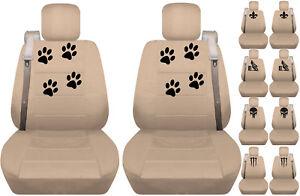 Fits Chevy trailblazer /GMC envoy front car seat cover solid tan w/ skull/fleur