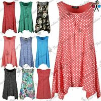 Womens Polka Dot Printed Ruched Top Ladies Sleeveless Flared Vest Swing Dress