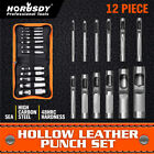 """12pc Hollow Hole Metal Leather Punch Set 1/8""""-3/4"""" Inch Vinyl Gasket with Case"""