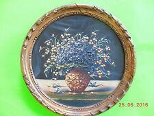 Petit tableau - peinture huile sur bois - vase et fleurs - signé