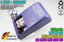 CHARGEUR VIVANCO CHARGER + 4 PILES ACCUS RECHARGEABLE NI-CD 1.2V AA 600MAH LR06