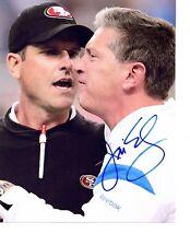 Jim Schwartz hand auto signed football photo Detroit Lions 8x10 Jim Harbaugh b