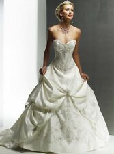 $1200 Maggie Sottero Wedding Dress Monalisa Royale Satin Ivory Corset Beads Sz 6