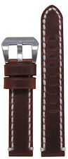18mm Panatime Vintage Tobacco Watch Band With White Stitching 120/75 18/18