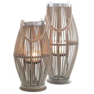 Laterne Bambus mit Henkel und Glaszylinder H 40 bis 74cm Gartenlaterne Windlicht
