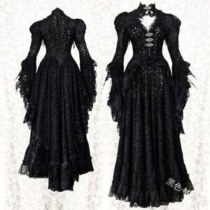 Steampunk Corset Dress Lace Gothic Skirt Long Medieval Dress Plus Size Halloween